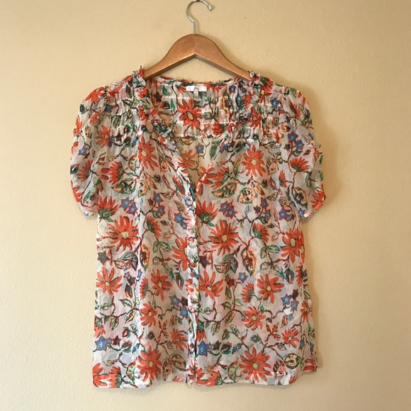 a99dadfb670867 Joie Tops - Joie Floral Silk Short Sleeve Top
